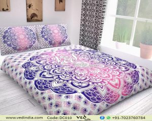 Blue Pink Ombre Indian Style Duvet Covers and Bedding Coverlet-0