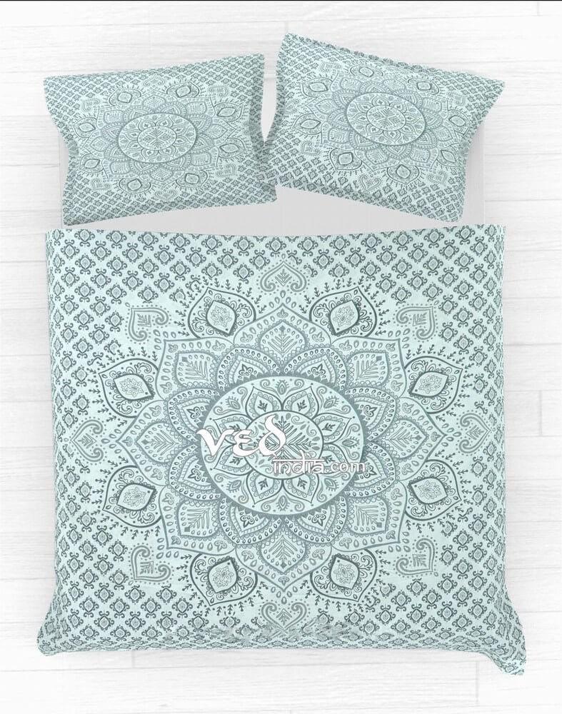 Cheap Hippie Style Duvet Cover Set in Grey Ombre Print-3627