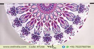 Bohemian Beach Blanket Pom Pom Round Tapestry-0