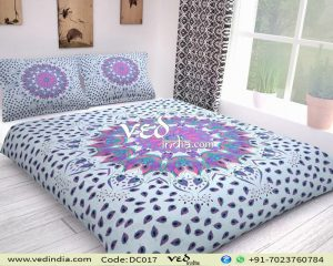 Cotton Mandala Duvet Cover Set King Size in Purple and Red-0