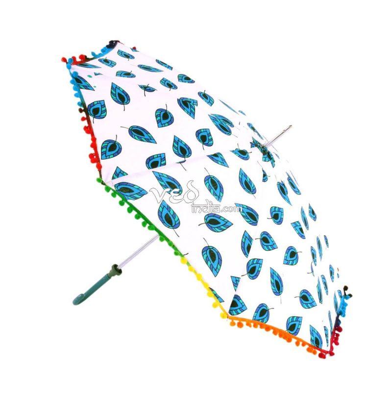 Cotton Umbrella Hippie Vintage Colorful Leaf Foldable Parasol-3706