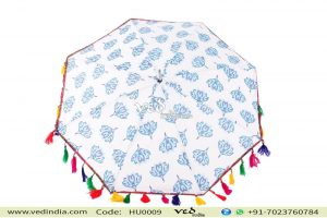 Vintage Indian Blanket Design Blue Parasols for Women-0