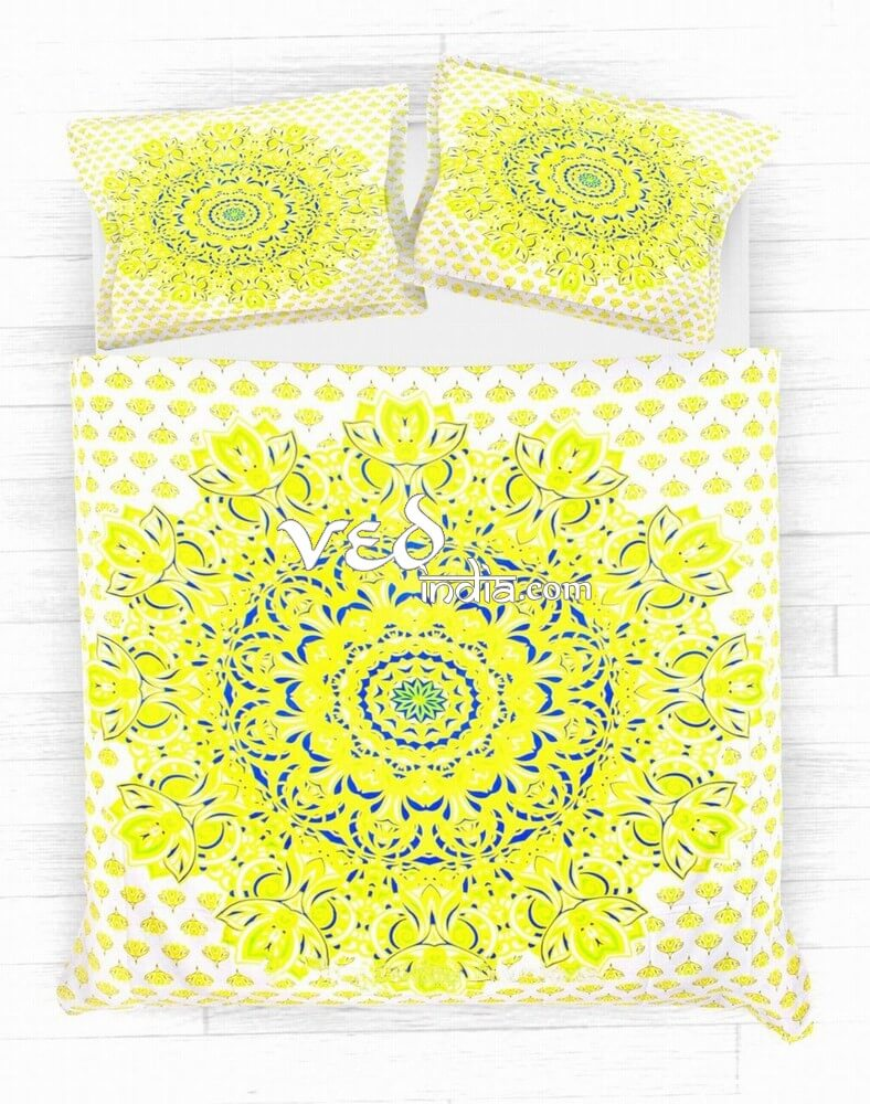 Best Hippie Duvet Cover and Bed Sheets In Yellow Floral-3772