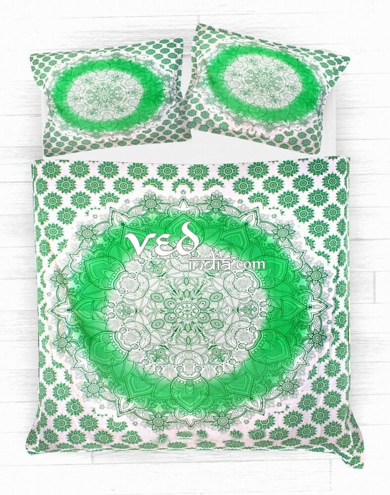 Indian Duvet Cover Queen Twin Size Green Ombre-3770