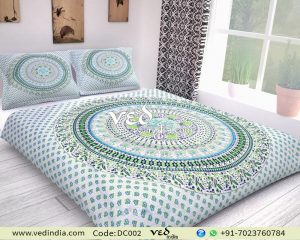 Indian Block Print Duvet Cover Queen Animal Birds Pattern-0