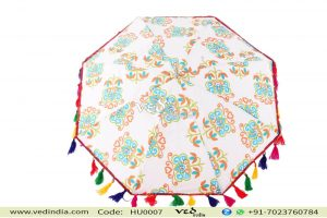 Floral Tie Dye Sun Parasol Umbrella with Soft fur-0