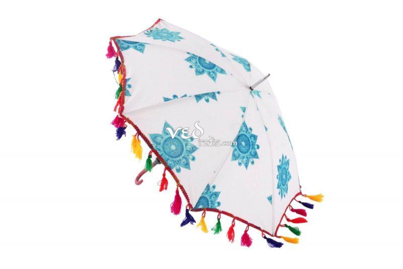 Handmade Indian Mandala Blue Foldable Umbrellas-3671
