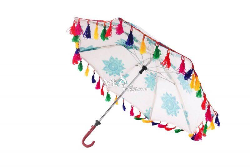 Handmade Indian Mandala Blue Foldable Umbrellas-3669