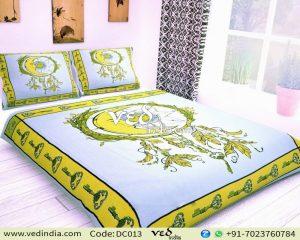 Indian Cotton Duvet Cover Bedspreads King Queen Size Sun Moon Print-0