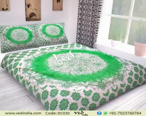 Indian Duvet Cover Queen Twin Size Green Ombre-0