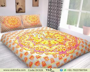 Indian Duvet Doona Cover Queen Rangoli Print-0