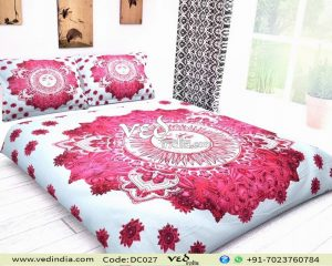 Indian Mandala Quilt Duvet Cover Set Sun Pattern in Hot Pink-0