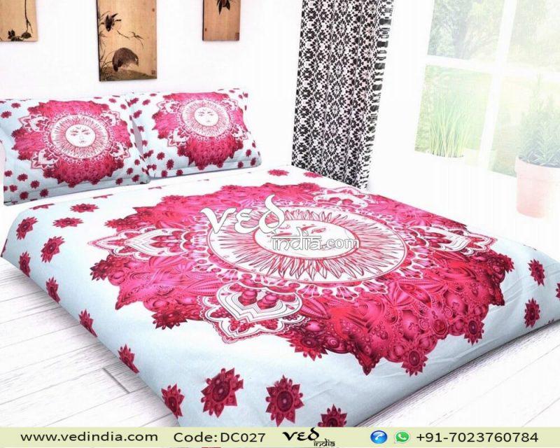 Indian Mandala Quilt Duvet Cover Set Sun Pattern in Hot Pink-0