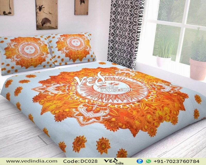 Indian Print Cotton Bed Sheets and Duvet Set With Sun Design-0