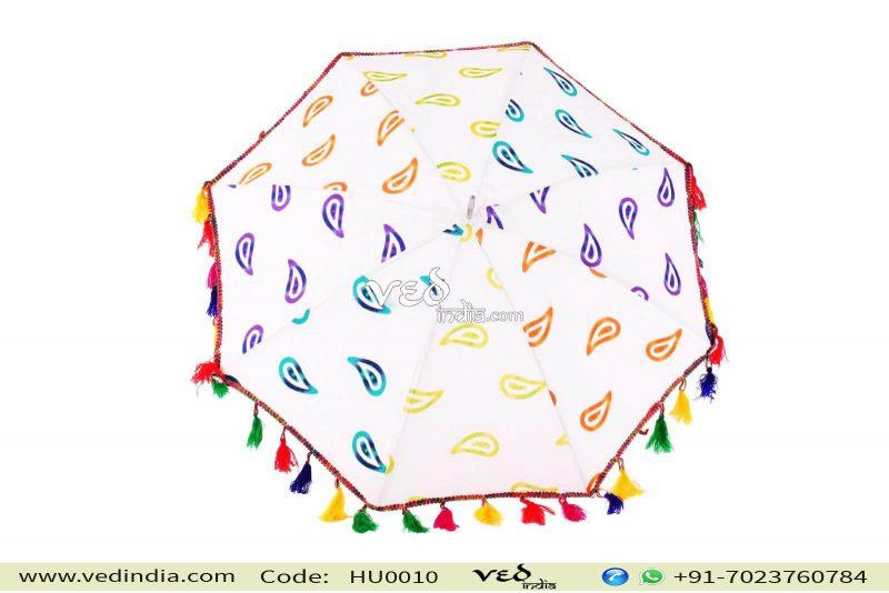 Indian Style Parasol Colorful Fur Sun Protection Umbrella -0