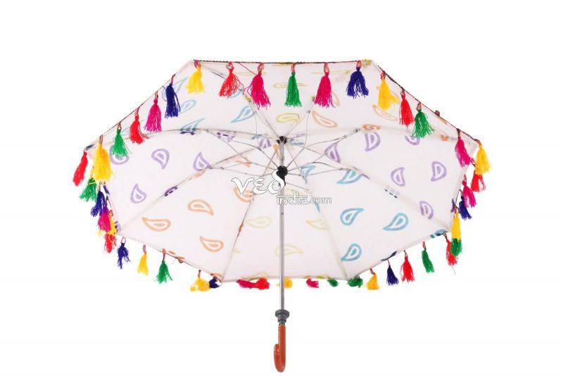 Indian Style Parasol Colorful Fur Sun Protection Umbrella -3683