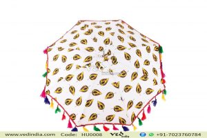 Leaf Travel Foldable Art Umbrella with Multicolor fur-0