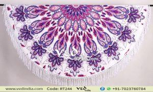 Circle Mandala Beach Towel Throw Tassel Purple Floral-0