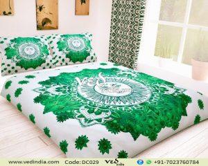 Mandala Double Duvet Doona Cover Blanket In Green Sun Print-0