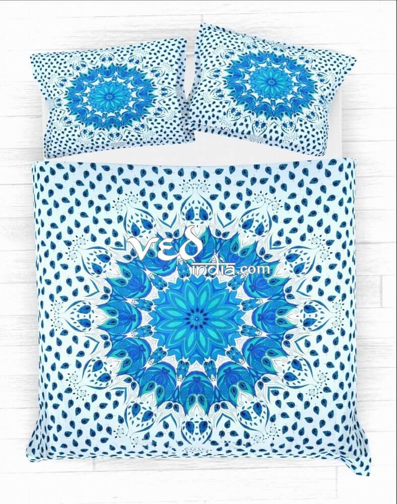 Blue Cotton Mandala Duvet Cover King in Leaf Print-3744