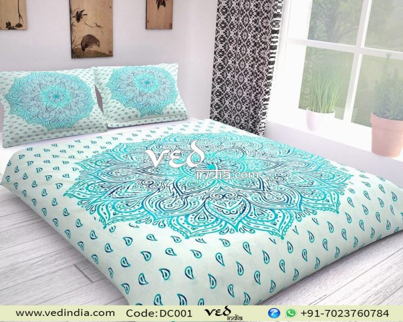 Mandala Duvet Cover Set Twin Size With Ombre Print-0
