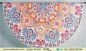 Indian Mandala Tapestry Pom Pom Beach Throw Towel-0