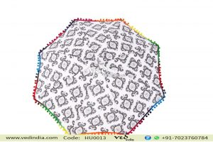 Mandala Pom Pom Parasol Umbrella Black and White-0