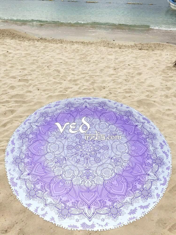 Mandala Round Tapestry with Pom Pom Purple Ombre-3581