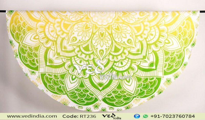 Mandala Round Beach Towel Tapestry Green Yellow Ombre-0