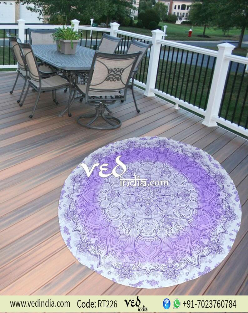 Beach Throw Mandala Round Tapestry Purple Ombre-0