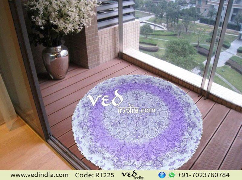 Mandala Round Tapestry with Pom Pom Purple Ombre-0