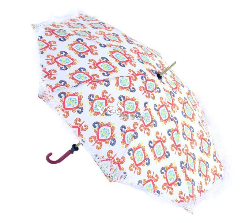 Multicolor Indian Round Long Tassels Sun Umbrella for Walking-3712