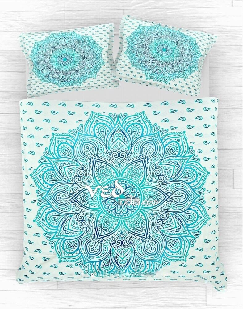 Mandala Duvet Cover Set Twin Size With Ombre Print-3620