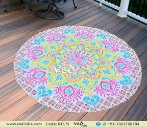 Ombre Round Pom Pom Mandala Beach Towel Boho Tapestry-0