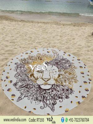 Round Indian Lion Mandala Hippie Tapestry Beach Throw Rug-0
