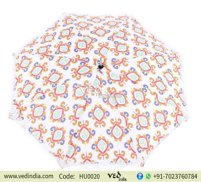 Multicolor Indian Round Long Tassels Sun Umbrella for Walking-0