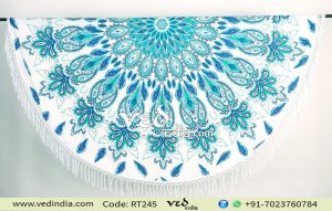 Round Beach Cotton Rug Sea Green Floral Tapestry-0