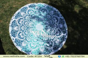 Round Tapestry Aqua Blue Ombre Mandala Beach Throw-0