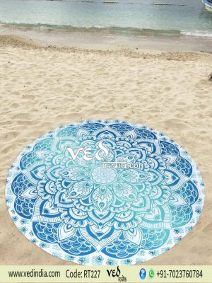 Roundie Beach Towel Aqua Blue Ombre-0