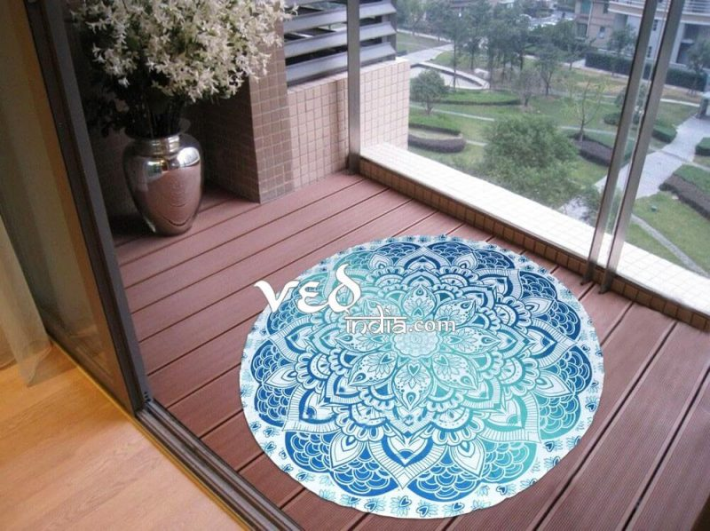 Roundie Beach Towel Aqua Blue Ombre-3584