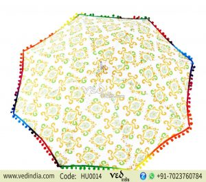 Green Yellow Pom Pom Sun Protection Ladies Parasols-0
