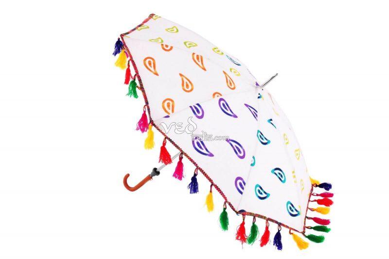 Indian Style Parasol Colorful Fur Sun Protection Umbrella -3685