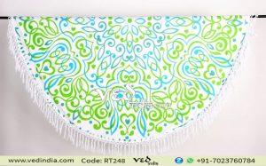 Tie Dye Round Beach Towel Boho Gypsy Cotton Tablecloth-0