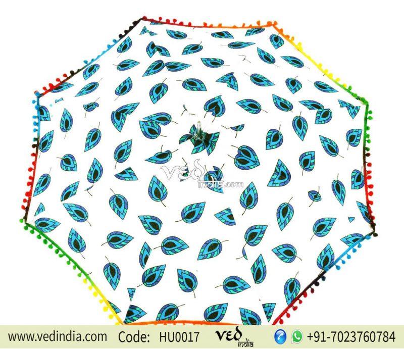 Cotton Umbrella Hippie Vintage Colorful Leaf Foldable Parasol-0