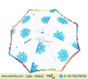 Vintage Decor Women Fashion Summer Umbrella Blue Print -0