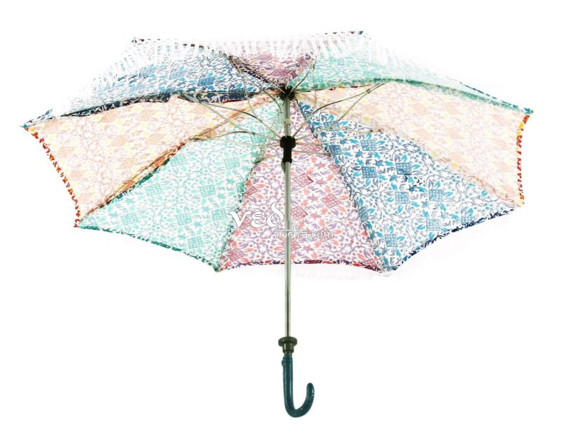 Vintage Foldable Parasol Walking Sun Umbrella with Long Tassels-3715