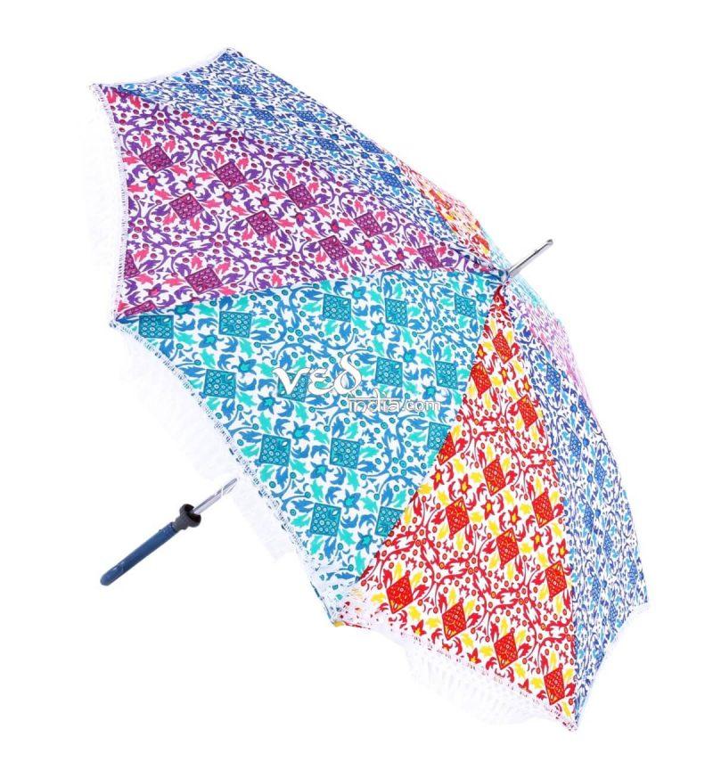 Vintage Foldable Parasol Walking Sun Umbrella with Long Tassels-3716