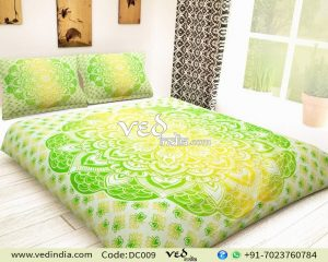 Yellow Green Boho Duvet Covers Queen Full in Ombre Print-0