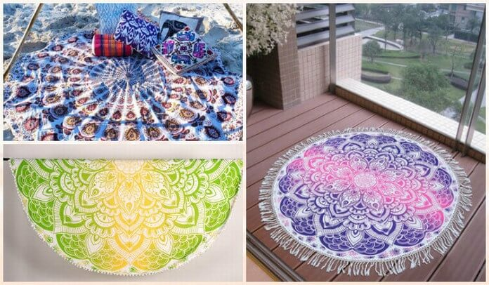 Mandala Round Beach Towels