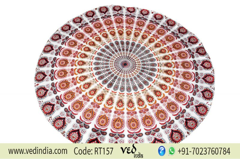 Bohemian Circle Beach Towel Peafowl Design | Round Tapestry Online-0